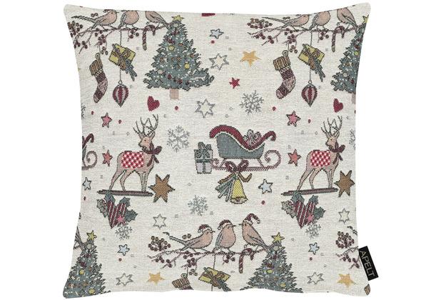 APELT Winterwelt Kissenhülle Weihnachtsmotiv im angesagten Skandi-Style natur / rot 40x40 cm