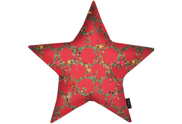 APELT Winterwelt Sternkissen Christmas-all-over rot / grün 44x44 cm