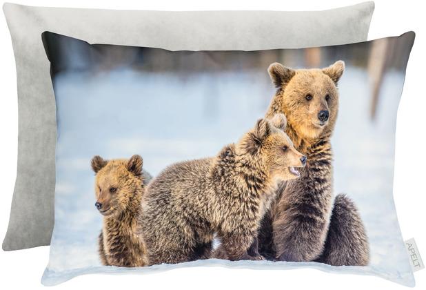 APELT Winterwelt Wendekissen Bärenfamilie graun / grau / natur 35x45 cm
