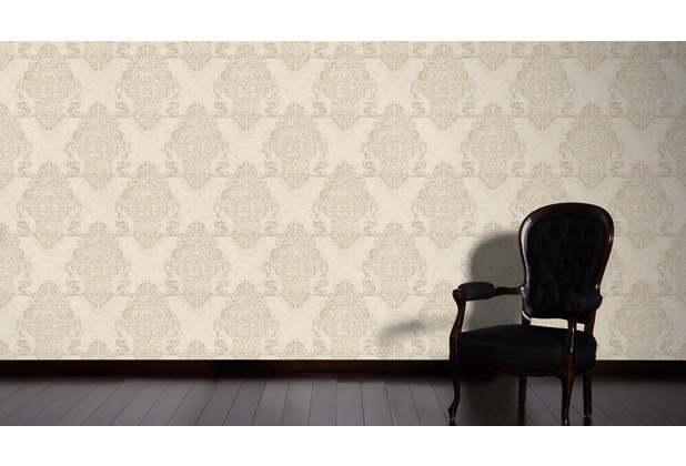 Architects Paper barocke Mustertapete Luxury Classics Vliestapete beige metallic 343723 10,05 m x 0,53 m