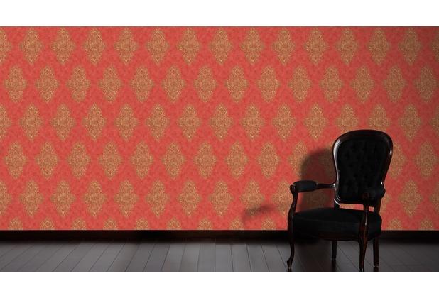 Architects Paper barocke Mustertapete Luxury Classics Vliestapete beige metallic rot 10,05 m x 0,53 m