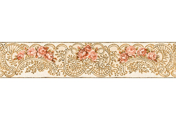 Architects Paper florale Bordüre Kind of White by Wolfgang Joop beige metallic rot 340745 5,00 m x 0,13 m