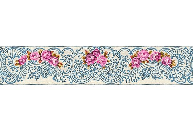 Architects Paper florale Bordüre Kind of White by Wolfgang Joop blau metallic rot 5,00 m x 0,13 m