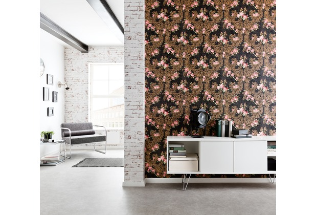 Architects Paper florale Mustertapete Kind of White by Wolfgang Joop metallic rot schwarz 10,05 m x 0,53 m