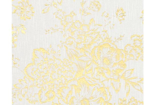 Architects Paper klassische Mustertapete Metallic Silk Textiltapete weiß metallic 306571 10,05 m x 0,53 m