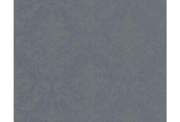 Architects Paper klassische Mustertapete mit Glitter Haute Couture 3, blau, grau, metallic 290366 10,05 m x 0,53 m