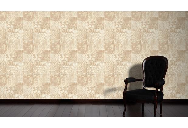 Architects Paper Mustertapete im Ethno-Look Luxury Classics Vliestapete beige creme metallic 10,05 m x 0,53 m