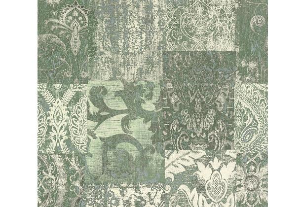 Architects Paper Mustertapete im Ethno-Look Luxury Classics Vliestapete creme grün metallic 343741 10,05 m x 0,53 m