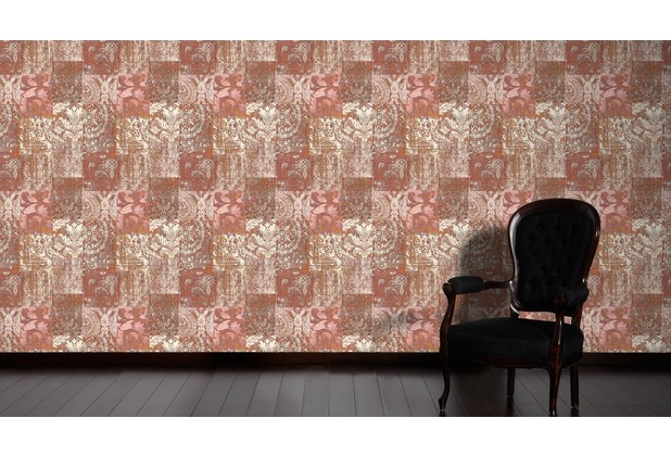 Architects Paper Mustertapete im Ethno-Look Luxury Classics Vliestapete creme metallic rot 10,05 m x 0,53 m