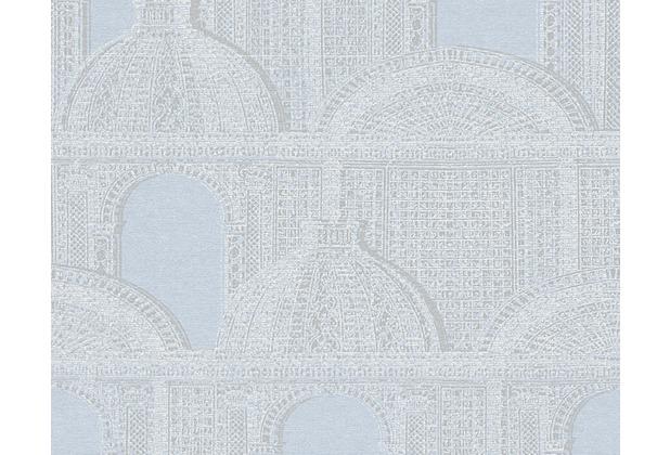 Architects Paper Mustertapete Piazza, Vliestapete, blau, grau, metallic 961103