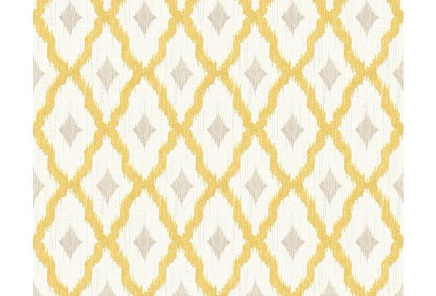 Architects Paper Mustertapete Tessuto 2, Textiltapete, gelb, metallic, weiß 961973