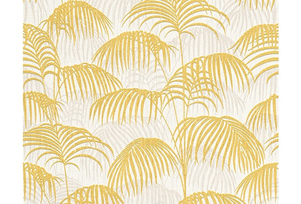 Architects Paper Mustertapete Tessuto 2, Textiltapete, gelb, metallic, weiß 961982
