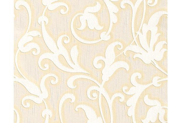 Architects Paper Mustertapete Tessuto, Textiltapete, elfenbein, perlweiß, signalweiß 954907 10,05 m x 0,53 m