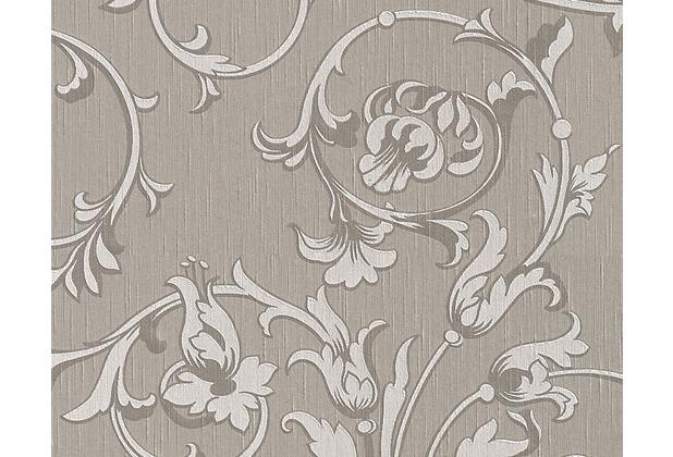 Architects Paper Mustertapete Tessuto, Textiltapete, sepiabraun, signalweiß, graubeige 956336 10,05 m x 0,53 m
