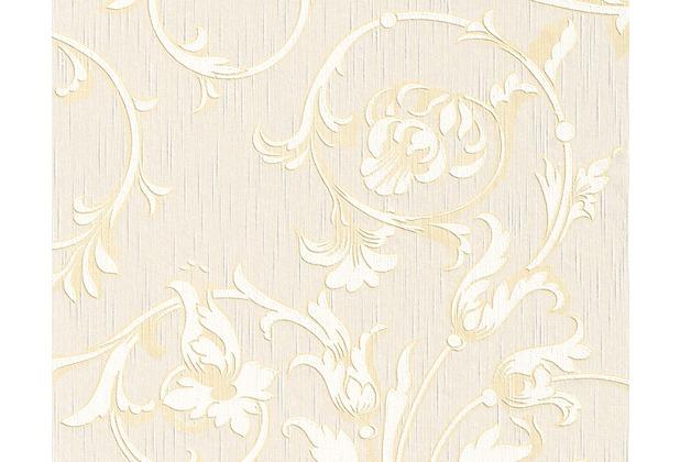 Architects Paper Mustertapete Tessuto, Textiltapete, signalweiß, sandgelb, perlweiß 956337 10,05 m x 0,53 m