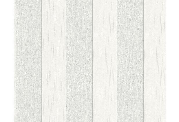 Architects Paper Streifentapete Tessuto 2, Textiltapete, grau, weiß 961941