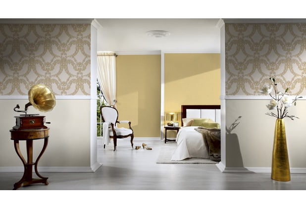 Architects Paper Unitapete Luxury Classics Vliestapete gelb metallic 10,05 m x 0,53 m