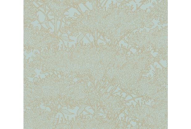 Architects Paper Vliestapete Absolutely Chic Tapete mit Blumen floral metallic blau grün 369722 10,05 m x 0,53 m