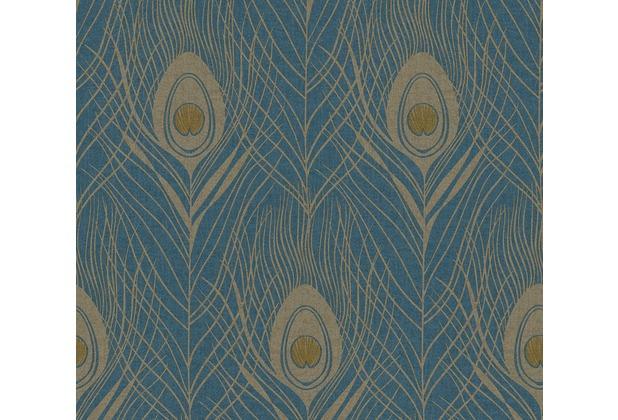 Architects Paper Vliestapete Absolutely Chic Tapete mit Pfauen Feder blau gelb metallic 369712 10,05 m x 0,53 m