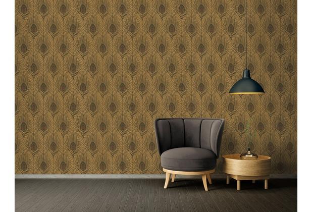 Architects Paper Vliestapete Absolutely Chic Tapete mit Pfauen Feder metallic braun schwarz 369718 10,05 m x 0,53 m