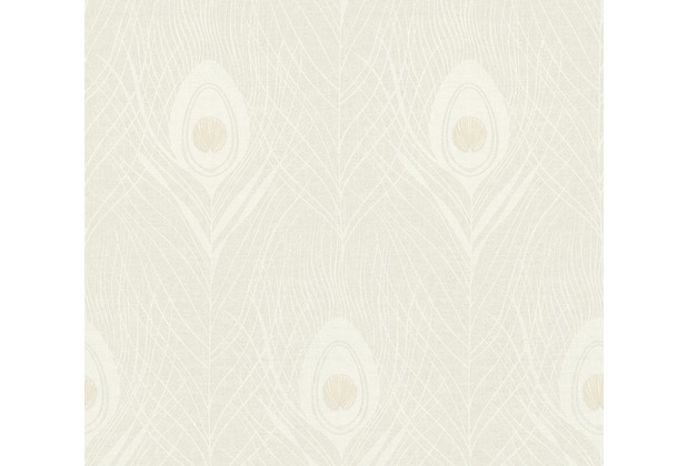 Architects Paper Vliestapete Absolutely Chic Tapete mit Pfauen Feder metallic grau beige 369711 10,05 m x 0,53 m