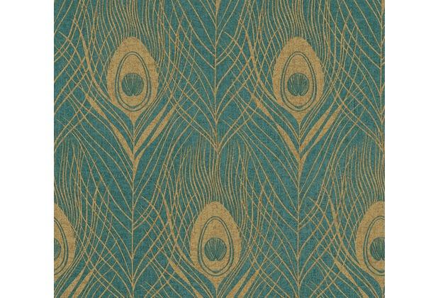 Architects Paper Vliestapete Absolutely Chic Tapete mit Pfauen Feder metallic grün braun 369714 10,05 m x 0,53 m