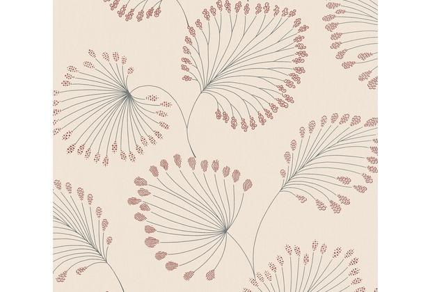 Architects Paper Vliestapete Alpha Tapete floral beige metallic rot 333714 10,05 m x 0,53 m