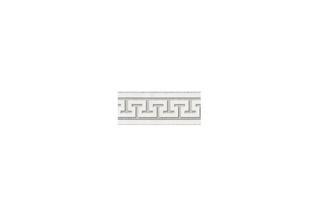 AS Création selbstklebende Bordüre Only Borders 9 grau metallic weiß 281319 5,00 m x 0,04 m