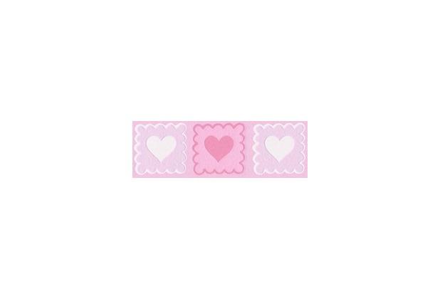 AS Création selbstklebende Bordüre Only Borders 9 rosa weiß 281814 5,00 m x 0,05 m - Herzen