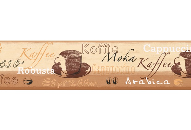 AS Création selbstklebende Bordüre Only Borders 9 beige braun creme 898517 5,00 m x 0,13 m - Thema Kaffee
