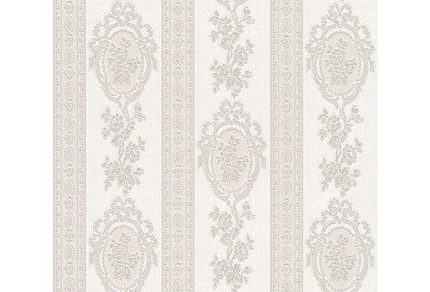 AS Création barocke Mustertapete Belle Epoque Strukturprofiltapete grau metallic weiß 186157 10,05 m x 0,53 m