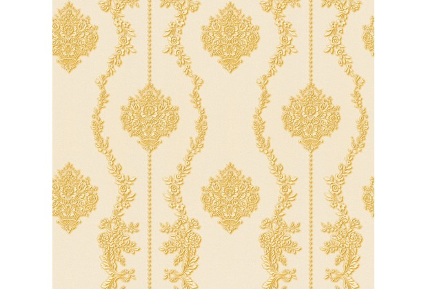 AS Création barocke Mustertapete Château 5 Vliestapete creme gelb metallic 344934 10,05 m x 0,53 m