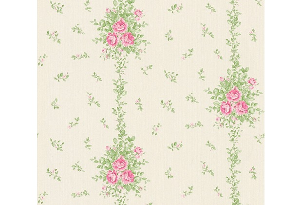 AS Création barocke Mustertapete Château 5 Vliestapete creme grün rosa 345002 10,05 m x 0,53 m
