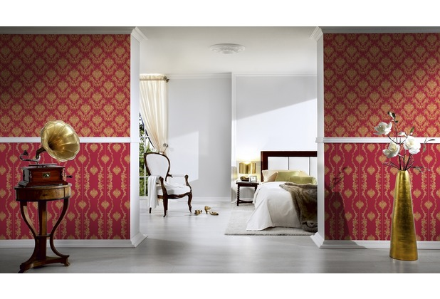 AS Création barocke Mustertapete Château 5 Vliestapete gelb metallic rot 10,05 m x 0,53 m