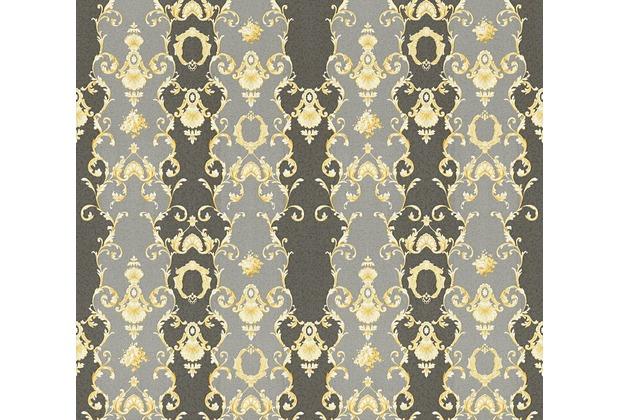 AS Création barocke Mustertapete Château 5 Vliestapete grau metallic schwarz 343926 10,05 m x 0,53 m