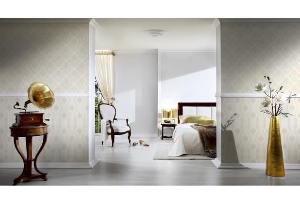 AS Création barocke Mustertapete Château 5 Vliestapete grau metallic weiß 10,05 m x 0,53 m