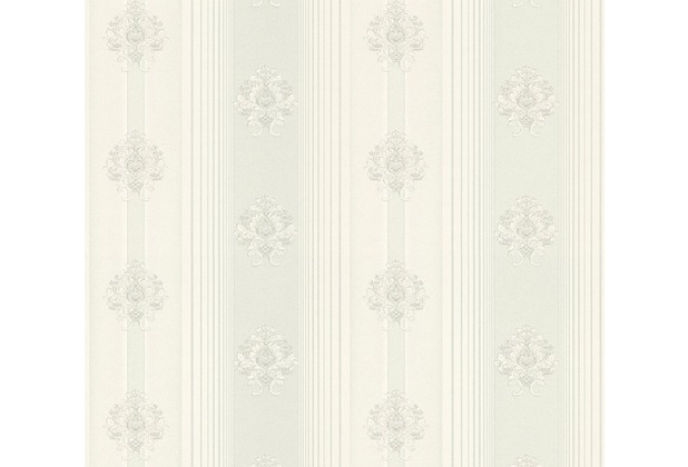 AS Création barocke Mustertapete Hermitage 10 grau metallic weiß 330843 10,05 m x 0,53 m