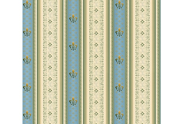 AS Création barocke Mustertapete Streifentapete Hermitage 10 beige blau grün 335422 10,05 m x 0,53 m