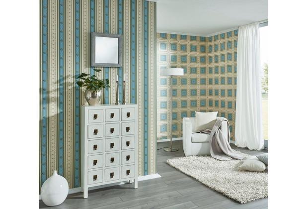 AS Création barocke Mustertapete Streifentapete Hermitage 10 beige blau grün 10,05 m x 0,53 m