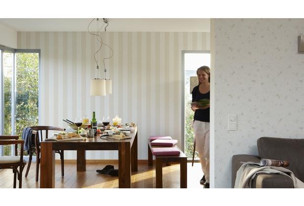 AS Création Blockstreifentapete Fleuri Pastel, Tapete, beige, weiss 10,05 m x 0,53 m