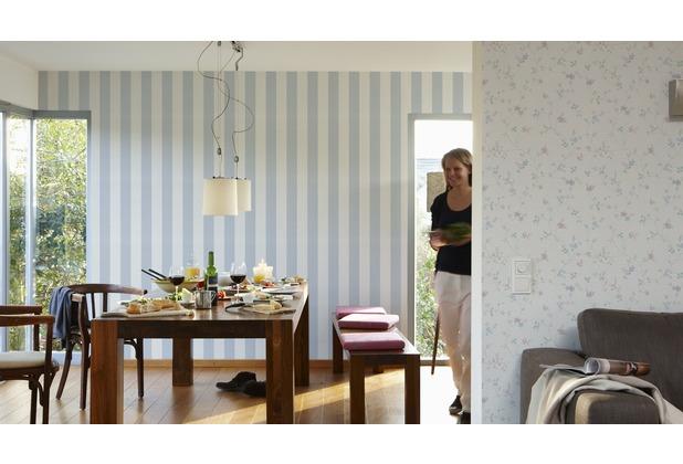 AS Création Blockstreifentapete Fleuri Pastel, Tapete, blau, weiss 10,05 m x 0,53 m