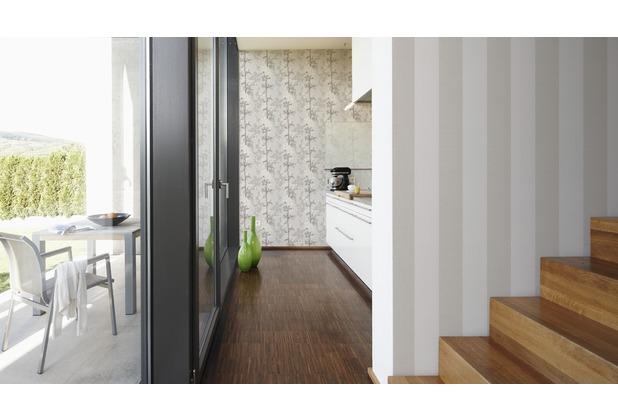AS Création Blockstreifentapete Scandinavian Blossum, Vliestapete, beige, braun, creme 10,05 m x 0,53 m