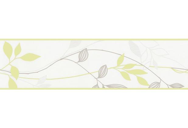 AS Création Bordüre Florale-Optik Blätter grün/grau 249623 5 m x 0,17 m