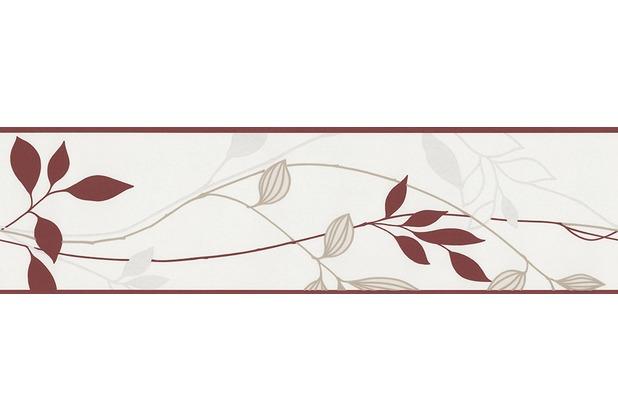 AS Création Bordüre Blätter Bordeaux-Grau 249630 5 m x 0,17 m