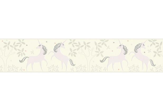 AS Création Bordüre Boys & Girls 6 Borte mit Einhörnern Unicorn grau lila weiß 369902 5,00 m x 0,13 m