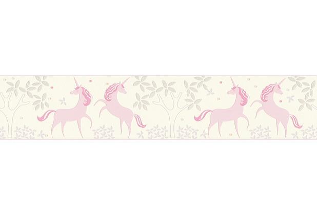AS Création Bordüre Boys & Girls 6 Borte mit Einhörnern Unicorn grau rosa weiß 369901 5,00 m x 0,13 m