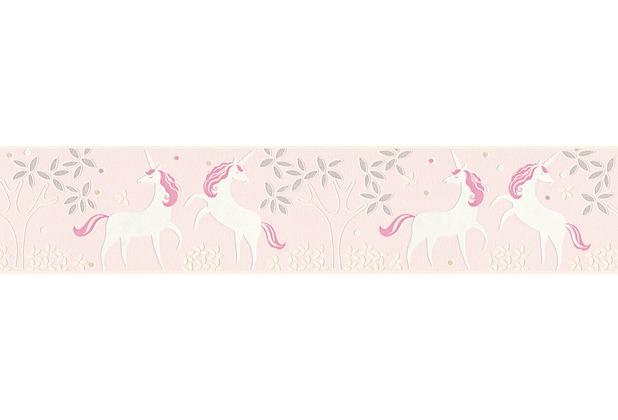 AS Création Bordüre Boys & Girls 6 Borte mit Einhörnern Unicorn metallic rosa weiß 369903 5,00 m x 0,13 m