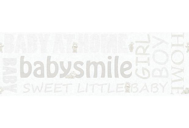 AS Création Bordüre Little Stars Borte PVC-frei creme metallic weiß 358482 5,00 m x 0,17 m