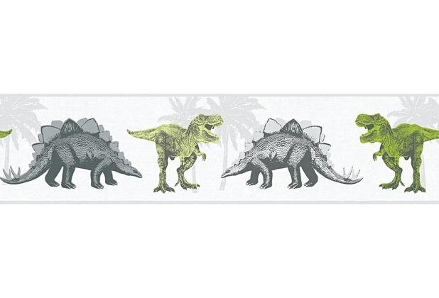 AS Création Bordüre Little Stars Borte PVC-frei grau grün weiß 358361 5,00 m x 0,13 m