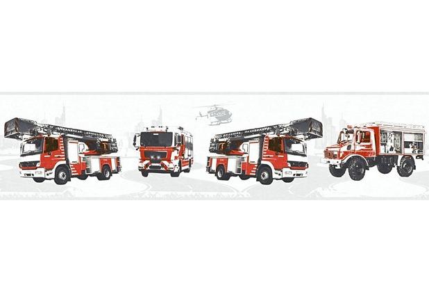 AS Création Bordüre Little Stars Borte PVC-frei grau rot schwarz 358141 5,00 m x 0,13 m